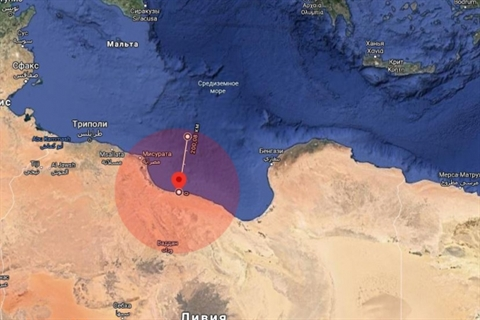 Hệ thống tên lửa phòng không tầm xa S-300 Favorit của Nga tạo ra một Vùng cấm bay xung quanh thành phố Sirte
