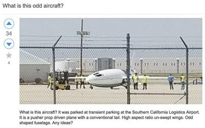 Ba năm trước, vào tháng 4-2017, một chiếc máy bay hình viên đạn bí ẩn đã được phát hiện tại sân bay hậu cần phía Nam bang California. Ảnh: Twitter