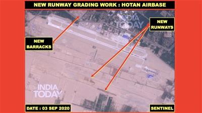 Hình ảnh được India Today đăng tải cho thấy hoạt động xây dựng đường băng và các tòa nhà quân sự mới đang được Trung Quốc tăng cường ở Căn cứ Hotan. Ảnh: India Times/Sentinel