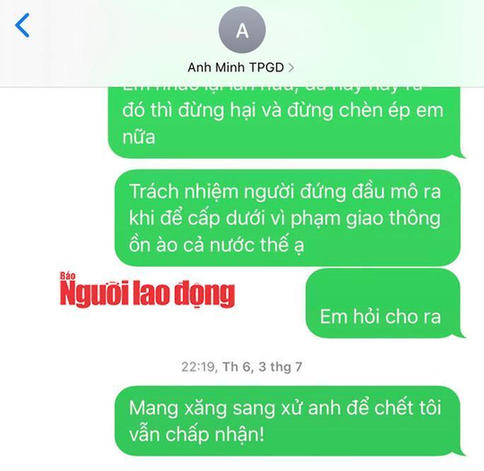 Nội dung tin nhắn được cho là của bà Nhạn gửi vào số điện thoại cá nhân của ông Phạm Thanh Minh - Trưởng phòng GD-ĐT thị xã Ba Đồn
