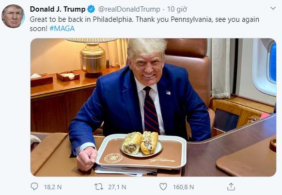 Bức ảnh trên Twitter của ông Trump cũng nhận được rất nhiều lượt thích.