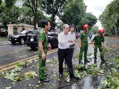 Ông Phan Ngọc Thọ (áo trắng, thứ 2 từ trái qua) , Chủ tịch UBND Thừa Thiên- Huế xuống hiện trường vụ bão làm ngã đổ cây trên đường phố