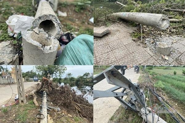 Hàng loạt cột điện tại TT-Huế gãy đổ sau bão số 5 khiến nhiều khu dân cư mất điện.