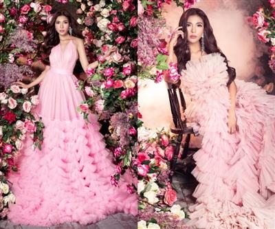 Thuý Diễm kiêu kỳ trong thiết kế váy rập ly xếp tầng màu hồng pastel ngọt ngào. Cô chọn khuyên tai đính đá và để mái tóc nâu xoăn bồng bềnh lôi cuốn.