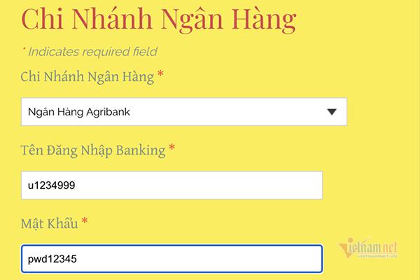 Sau khi chọn ngân hàng, gõ tên đăng nhập, mật khẩu, người dùng đã vô tình trao cho kẻ lừa đảo quyền truy cập vào tài khoản ngân hàng.