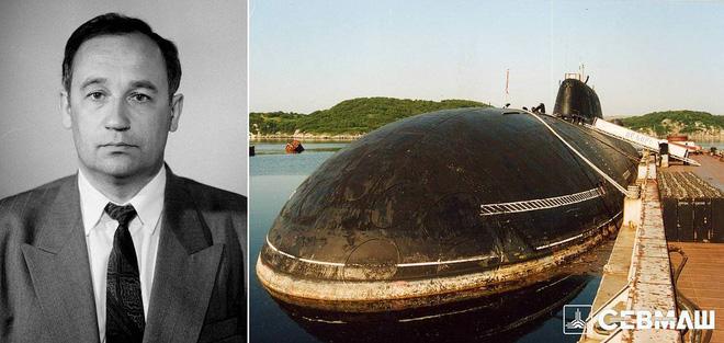 Vladimir Pastukhov và chiếc tàu ngầm nguyên tử 'Báo tuyết'. Ảnh: Sevmash.