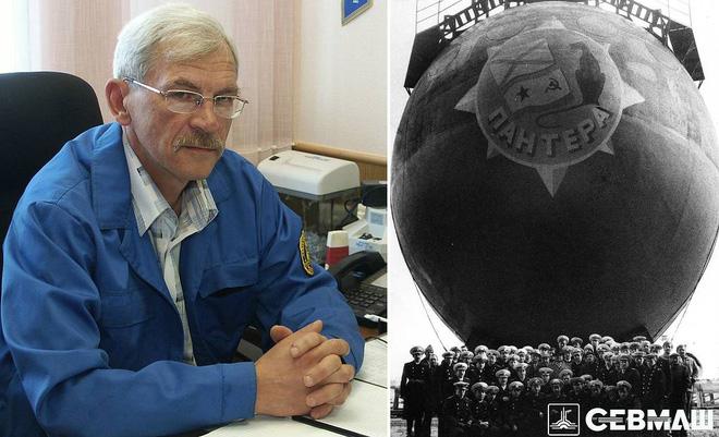 Victor Sorokin và tàu ngầm nguyên tử 'Báo đen'. Ảnh: Sevmash