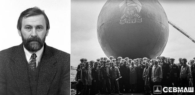 Ông Sergei Khviyuzov và tàu ngầm nguyên tử 'Tiger'. Ảnh: Sevmash