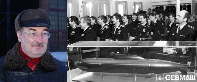 Ông Victor Kuznetzov và mẫu trưng bày chiếc tàu ngầm nguyên tử 'Báo hoa mai'. Ảnh: Sevmash.