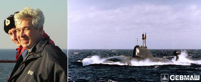 Ông Alexandr Kholodov và tàu ngầm nguyên tử 'Vepr'. Ảnh: Sevmash.