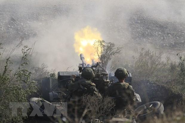 Tập trận chiến lược Kavkaz-2020 tại thao trường Raevskyi thuộc tỉnh Krasnodar, LB Nga. (Ảnh: Trần Hiếu/TTXVN)