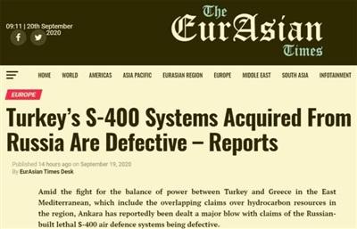 Tiêu đề bài viết trên EurAsian Times là 'Những tổ hợp S-400 Thổ Nhĩ Kỳ mua của Nga bị lỗi'.