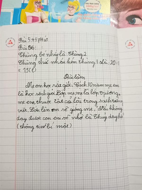 Bài Văn Tiểu học tả mẹ quá là đáng yêu luôn! (Nguồn: Thanh Thủy)