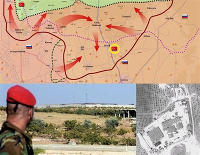 Đà tiến quân của Quân đội Arab Syria (SAA) tháng 8/2019 đặt cứ điểm ở đông nam Morek của TAF (vòng tròn vàng) trong vòng vây.