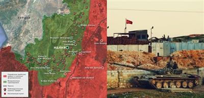 Mặc dù rút khỏi Morek (góc dưới bản đồ), việc các cứ điểm của TAF ở phía nam cao tốc M4 đang được tăng cường khiến các nỗ lực giải phóng Jabal al-Zawiyah của SAA đồng nghĩa với việc đối đầu trực tiếp với người Thổ.