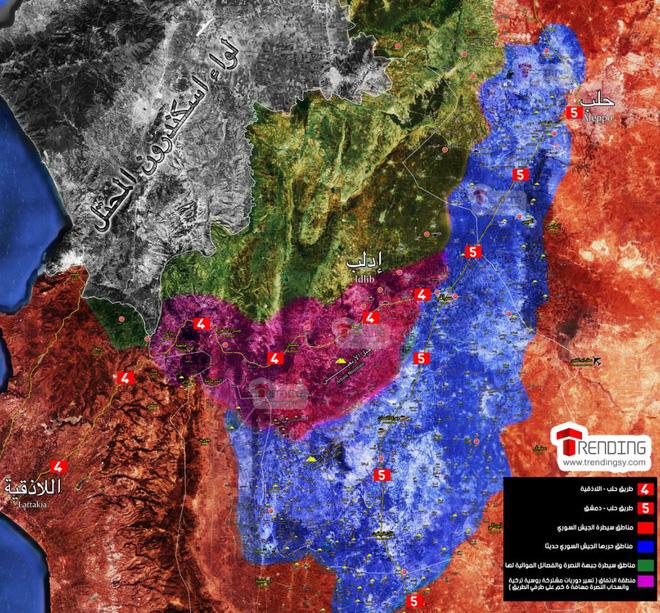 Sau khi hỗ trợ chính phủ Syria giải phóng phân nửa Idlib (màu xanh) có lẽ nỗ lực của Nga chỉ là biến khu vực xung quanh cao tốc M4 (màu tím) trở thành khu phi quân sự.