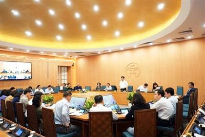 Ông Ngô Văn Quý - Phó Chủ tịch UBND TP Hà Nội chủ trì buổi họp Ban chỉ đạo Phòng chống dịch COVID-19 TP Hà Nội, chiều 21/10.