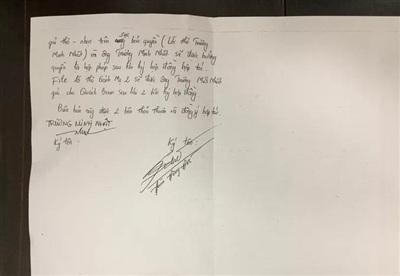 Biên bản có chữ ký ông Đoàn Đông Đức (tức ca sĩ Quách Beem) - Ảnh: Người Lao Động.