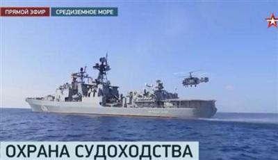 Chiến hạm Nga diễn tập ngoài khơi Syria.