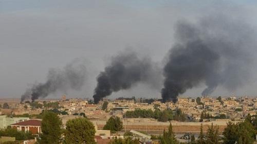 Thổ Nhĩ Kỳ tấn công một số vị trí của SDF ở Bắc Syria ngày 22/10. Ảnh: AMN