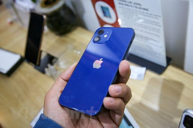 Mặt sau của iPhone 12 nhìn tương tự iPhone 11, với cụm camera kéo, đèn flash, logo Táo khuyết đặt giữa máy. (Ảnh: Minh Sơn/Vietnam+)