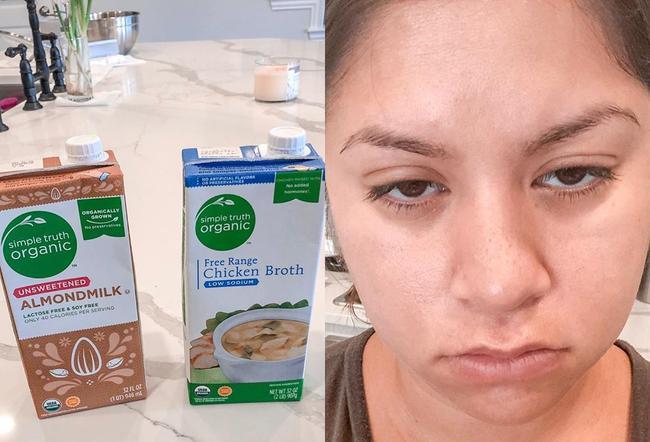 Bữa sáng diễn ra không đúng như kế hoạch. Thay vì đổ sữa hạnh nhân vào để làm smoothie, bà mẹ này lại đổ nước dùng gà.