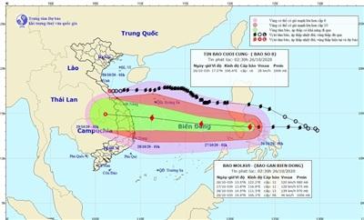 Hình ảnh dự báo vị trí và đường đi của bão Molave (bão số 9). (Nguồn: TTDBKTTVQG)