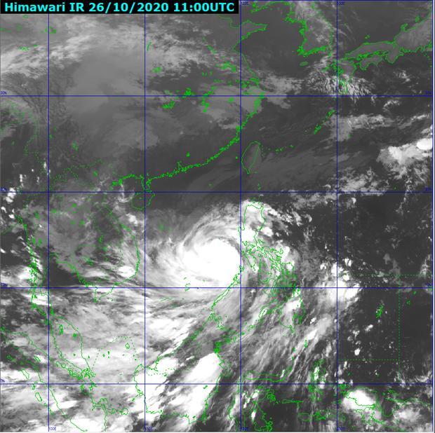 Ảnh mây vệ tinh bão số 9 (Nguồn: Trung tâm Dự báo Khí tượng Thủy văn Quốc gia)