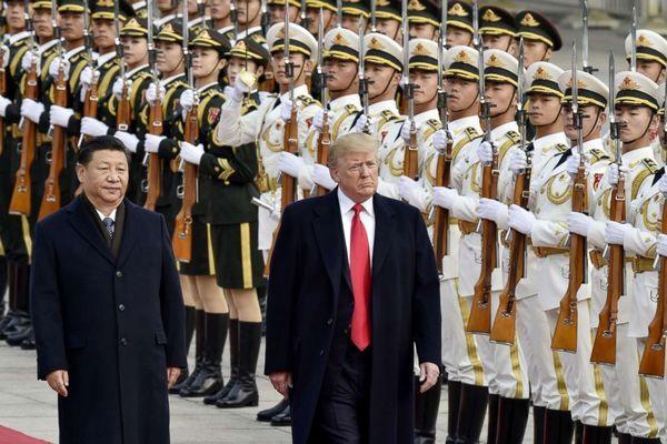 Chủ tịch Trung Quốc Tập Cận Bình và Tổng thống Mỹ Donald Trump tại Bắc Kinh hồi năm 2017. (Ảnh: Kyodo)