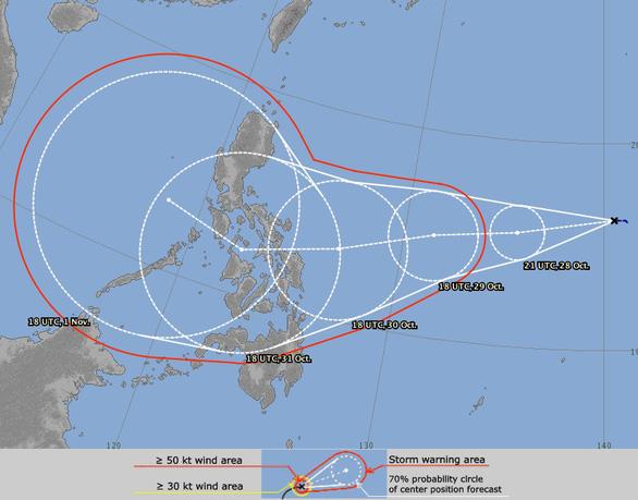 Đường đi của áp thấp nhiệt đới mới hình thành. Ảnh: Mô hình dự báo của Nhật Bản do báo Tuổi trẻ đăng tải