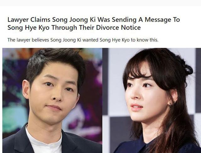 Bài báo về tin nhắn của Song Joong Ki dành cho Song Hye Kyo hối thúc chuyện ly hôn.
