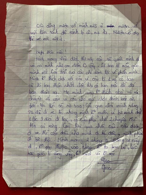 Bức thư cạch mặt bạn được viết từ năm lớp 6.