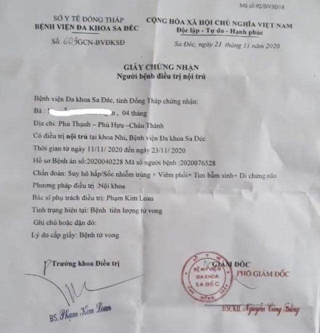 Bệnh án của bé N và giấy chứng nhận của Bệnh viện Đa khoa TP.Sa Đéc, tỉnh Đồng Tháp (theo Thanh Niên)