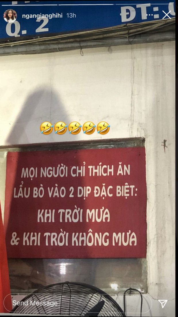 Quotes of the day của quán lẩu bò (Ảnh: @ngangianghihi)