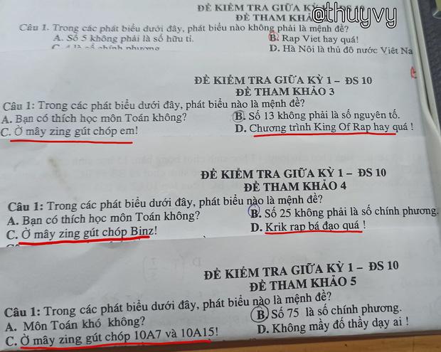 Đề kiểm tra với những mệnh đề đậm chất Rap Việt
