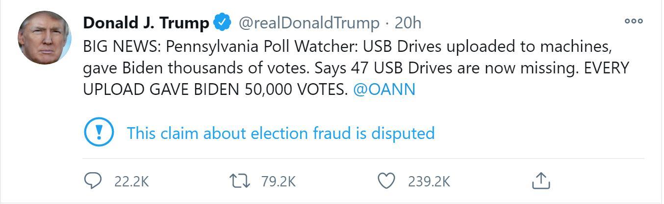 'Ông Biden có thêm 50.000 phiếu sau mỗi lần tải dữ liệu' từ các USB khả nghi này, ông Trump nhấn mạnh.