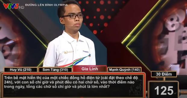 Câu hỏi tính toán trong phần thi Về đích của nam sinh Gia Linh (Ảnh chụp màn hình)