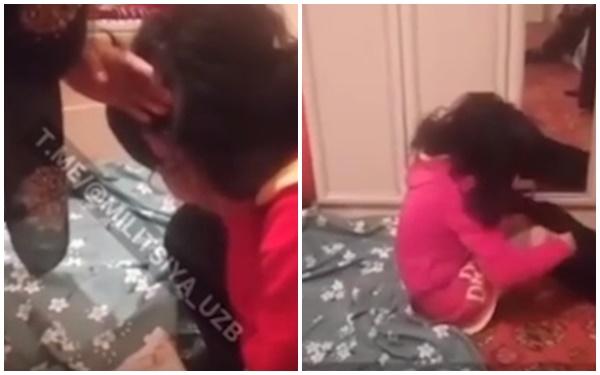 Cô dâu ôm mặt khóc nức nở rồi mặc lại quần sau khi cuộc kiểm tra kết thúc. Ảnh cắt từ clip.