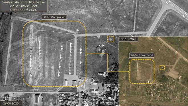 Một không ảnh được Planetlabs chụp tại sân bay Yevlakh của Azerbaijan vào đầu tháng 10/2020 cho thấy hàng chục chiếc An-2 (Nguồn: Báo trực tuyến Hetq của Armenia).