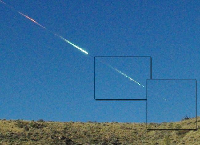 Hình ảnh thiên thạchSutter's Mill rơi xuống ở California, Mỹ vào tháng 4/2012.