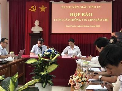 Ban Tuyên giáo Tỉnh ủy Bình Phước chủ trì họp báo sáng 30-5