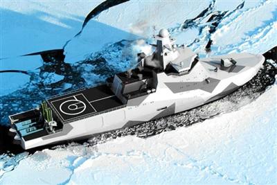 Mô hình tàu chiến kiêm tàu phá băng thuộc Dự án 23550 hiện đại nhất của Nga. Nguyên mẫu đầu tiên đã được hạ thủy ngày 25/10/2019 và sẽ đi vào biên chế cuối năm 2020.