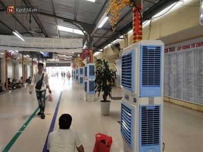 Phía bệnh viện bố trí nhiều quạt cây cho người nhà bệnh nhân.