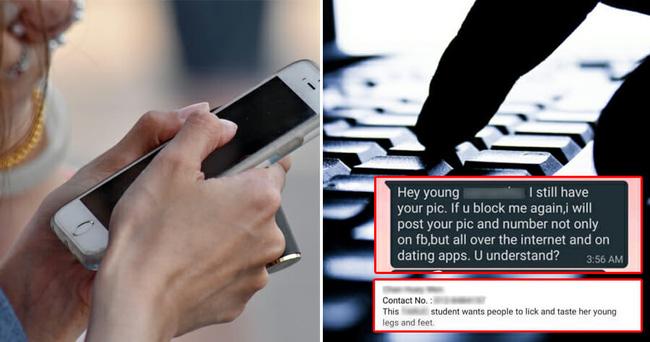 'Này cô gái, tôi vẫn giữ ảnh bạn. Nếu chặn tôi lần nữa, tôi sẽ đăng tất cả ảnh và số điện thoại lên mạng và ứng dụng hẹn hò. Hiểu chứ?'