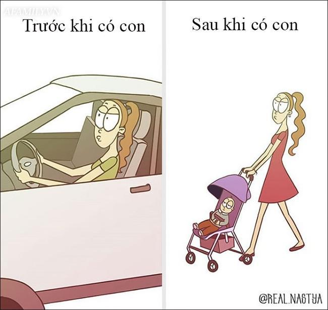 Độc thân thì lái xe sang chảnh, chứ có con rồi thì đi bộ là chủ yếu.