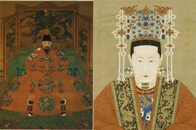 Tranh vẽ Minh Hiếu Tông và Trương Hoàng hậu.