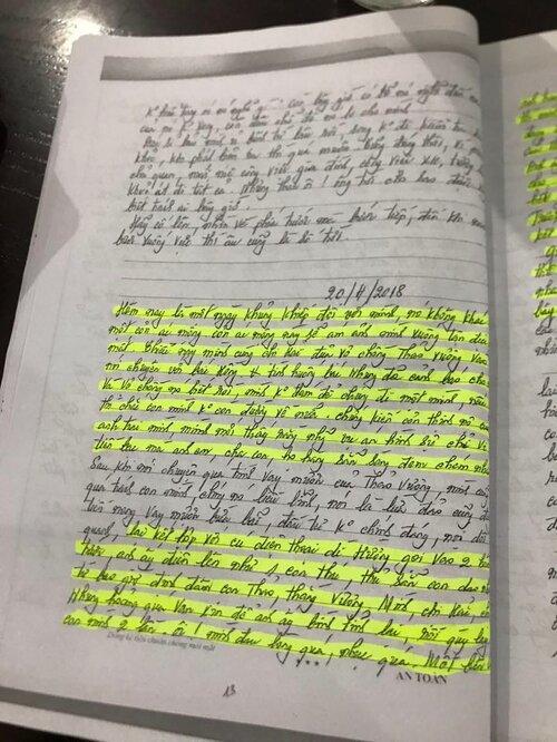 Những dòng nhật ký bà Hà viết. Trong đó có nhiều đoạn như được cảnh báo trước về một vụ thảm án.