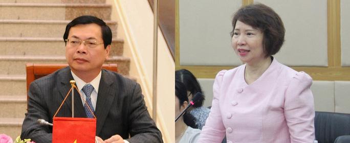 Cựu Bộ trưởng Bộ Công Thương Vũ Huy Hoàng và cựu Thứ trưởng Hồ Thị Kim Thoa thời còn đương chức. Ảnh: THÙY DƯƠNG - NGỌC ÁNH