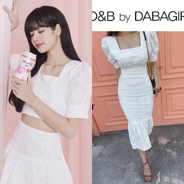 Stylist lại áp dụng công thức 'mua một được hai', cắt mẫu đầm ren của nhà mốtMarine thành áo croptop rời,váy rời cho Lisa mặc xinh xắn thế này đây!
