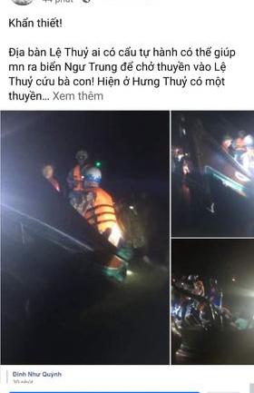 Nhiều tài khoản Facebook và các trang của Quảng Bình xuất hiện rất nhiềucác bài cầu cứu